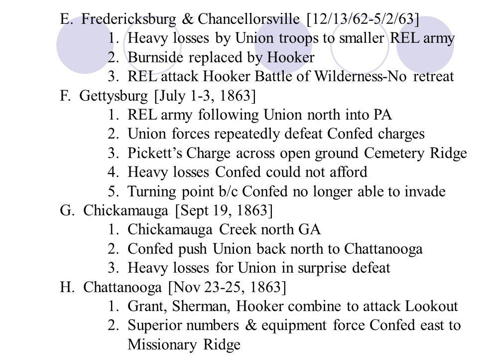 E. Fredericksburg & Chancellorsville [12/13/62-5/2/63]